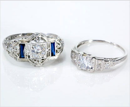 Antique, vintage and estate Art Deco wedding rings and engagement rings, alternative wedding rings