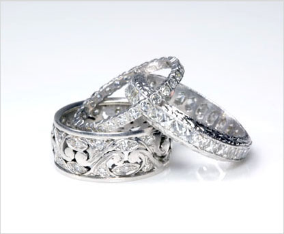 set wedding with bands c eternity shaped pave platinum engraving p diamond antique reproduction band