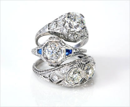 Antique and estate Edwardian diamond engagement and wedding rings, alternative wedding rings