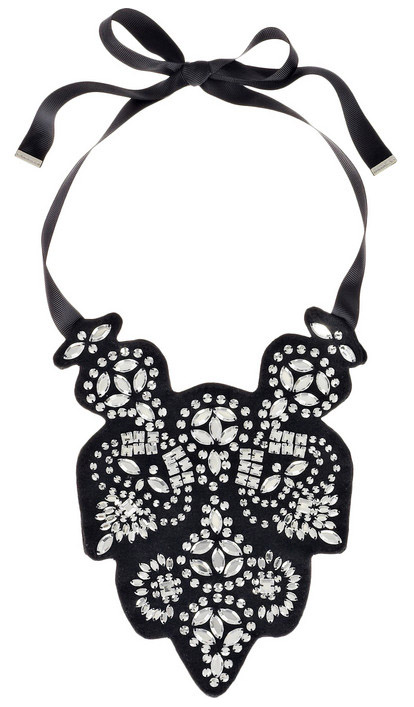 Black and white wedding accessories, black ribbon bib necklace by Malene Birger from Net-a-Porter.com