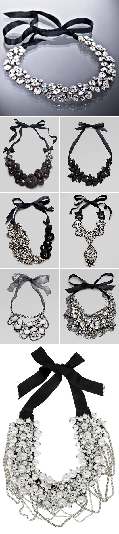 Black and white wedding jewelry and accessories, black ribbon, pearl and crystal bib necklaces
