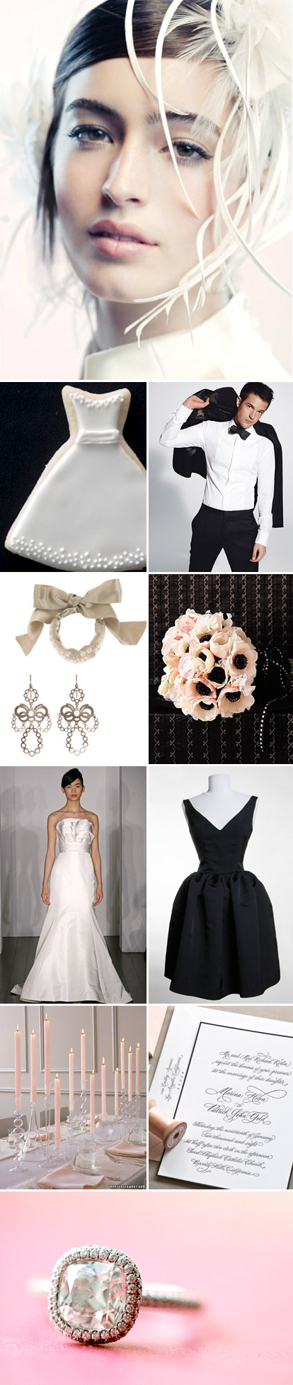 black, white and blush wedding color palette and inspiration board