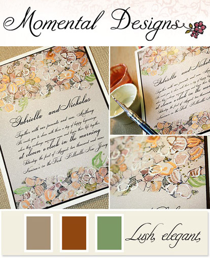 custom wedding invitations by Momental Designs inspired by the hydrangea and orchid bridal bouquet from Kathy Wright and Co. and Junebug Weddings
