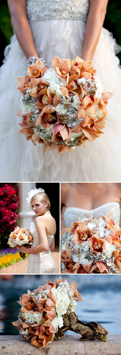 romantic, vintage inspired wedding bouquet of painted hydrangea and caramel cymbidium orchids by Kathy Wright and Co., images by La Vie Photography
