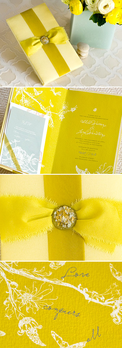 Bright and pretty chartresuse wedding invitations from Flite