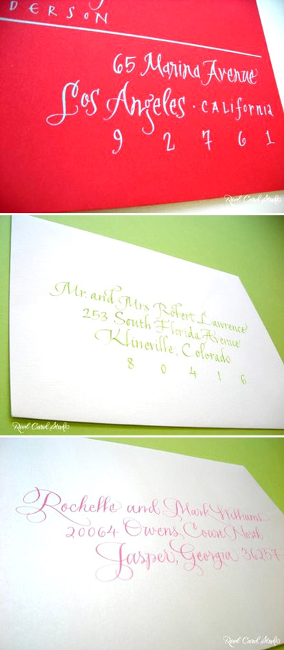 Colorful calligraphy and bright red envelopes for wedding invitations from Real Card Studio