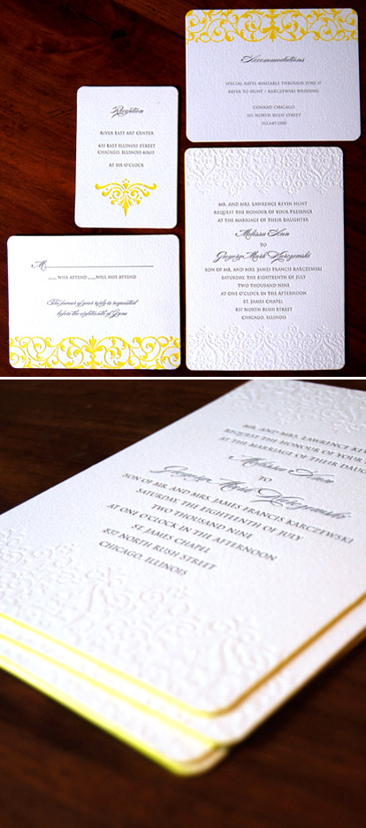 Classic black and white letterpress wedding invitations with yellow edging from Sarah Drake