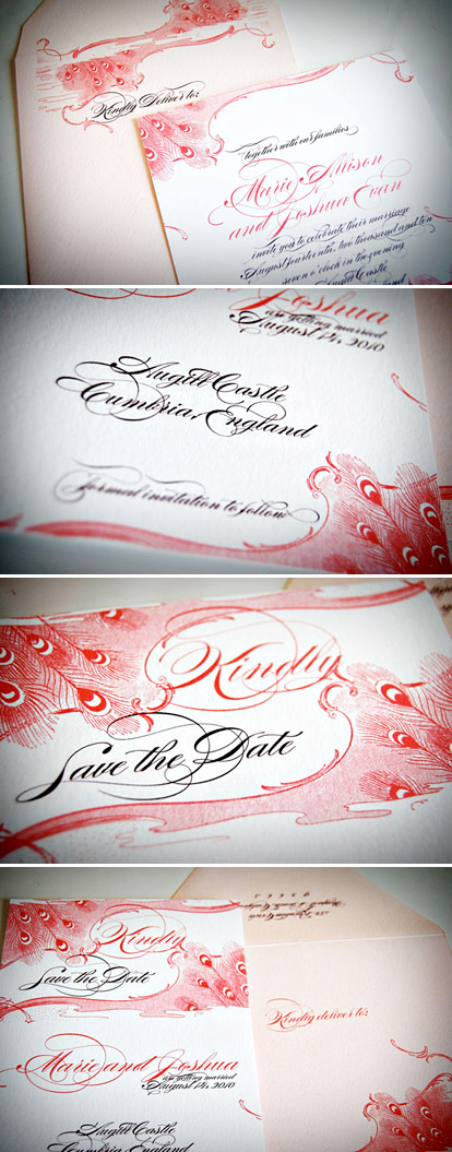 Pink, red, black and white Marie Antoinette wedding invitations from Wiley Valentine