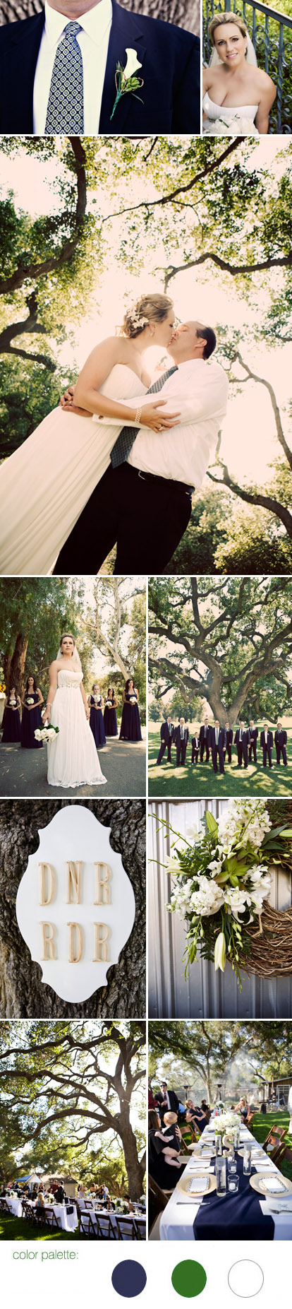 California backyard barbecue wedding, navy blue and emerald green wedding color palette, images by Jagger Photography