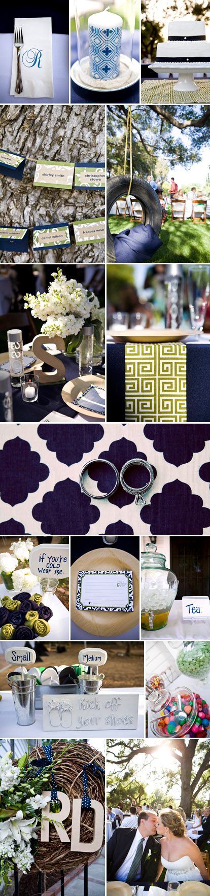 California backyard barbecue wedding reception, navy blue and emerald green wedding decor and favors, images by Jagger Photography