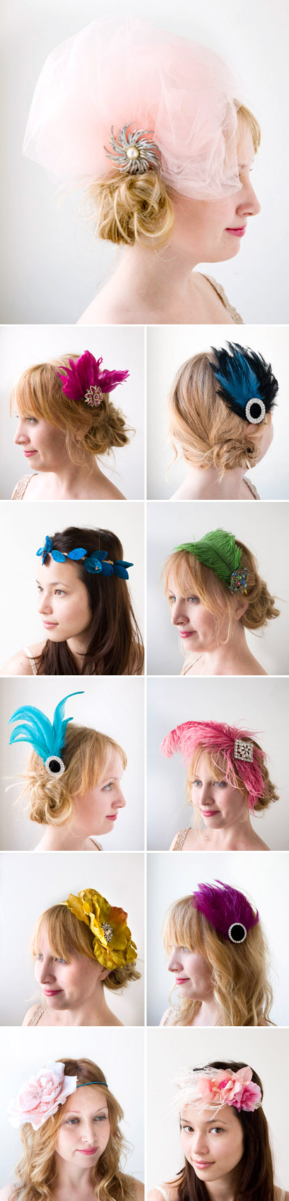 colorful, alternative wedding hair accessories, flowers, feathers, headbands by Ban.do