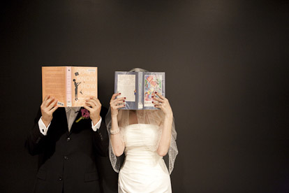 book loving bride and groom, real wedding at the downtown Seattle library, Cheri Pearl Photography