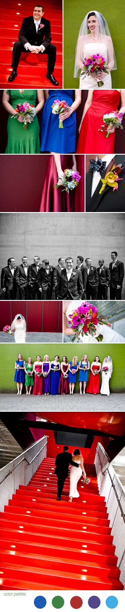 bright and colorful red, purple, blue, and green jewel tone real wedding color palette, Cheri Pearl Photography