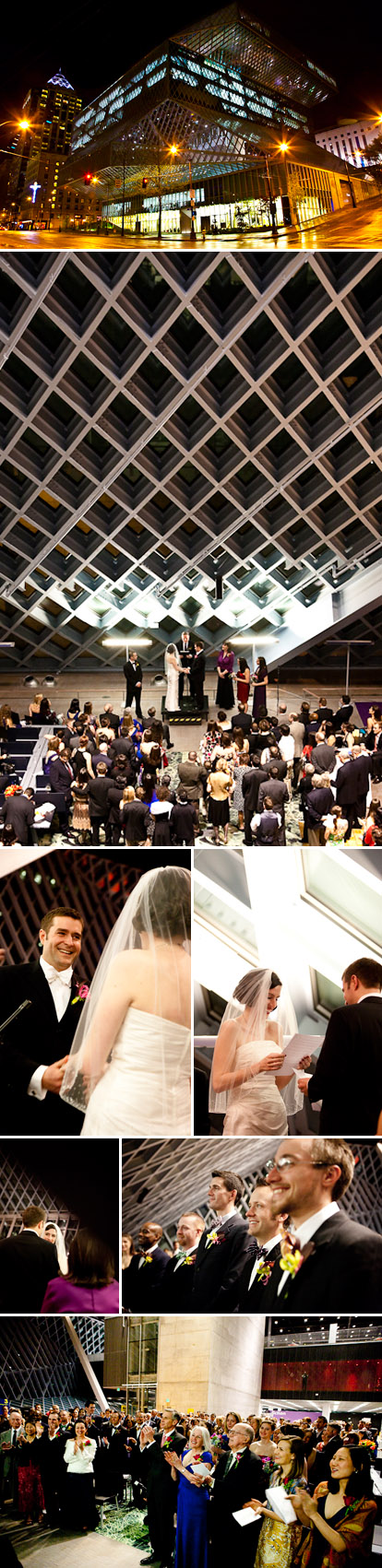 bright and colorful real wedding ceremony at the Seattle downtown library, Cheri Pearl Photography