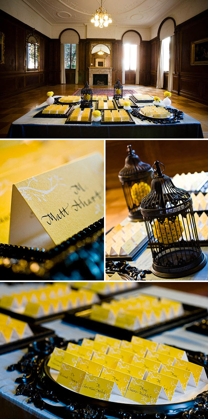 Whimsical French yellow and black wedding escort cards by Gloria Wong Design, images by Anna Kuperberg