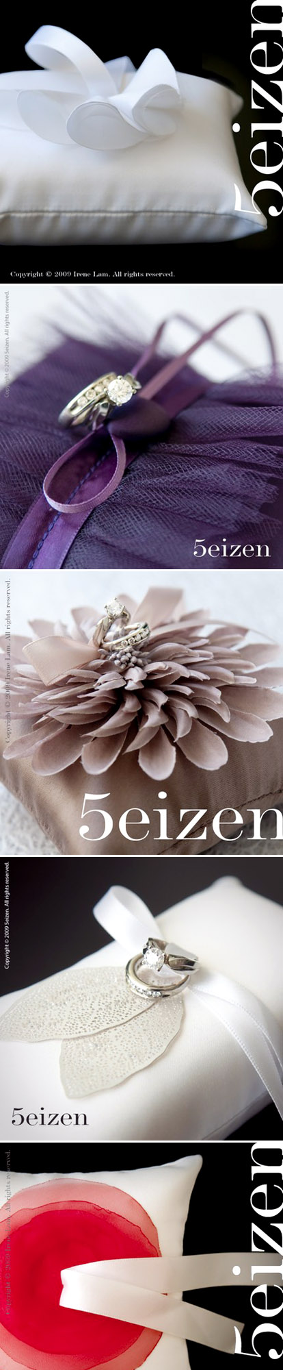 Clean, modern, chic, stylish floral wedding ring pillows from 5eizen on Etsy.com