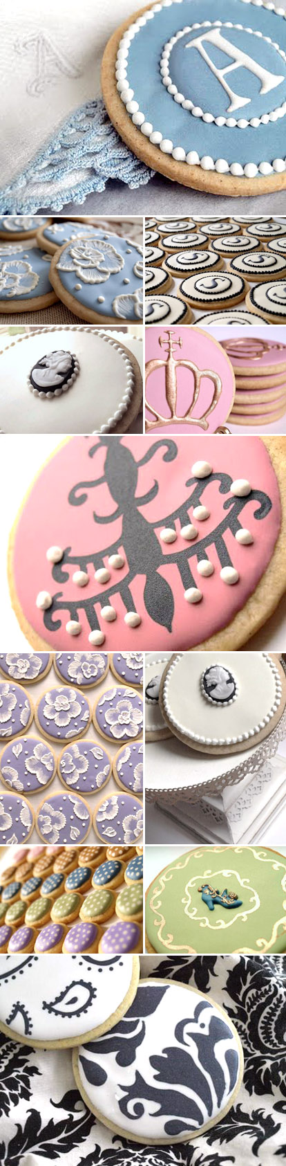 custom decorated wedding sugar cookies in damask, monogram, cameo, and fabric embroidery by SweetAmbs