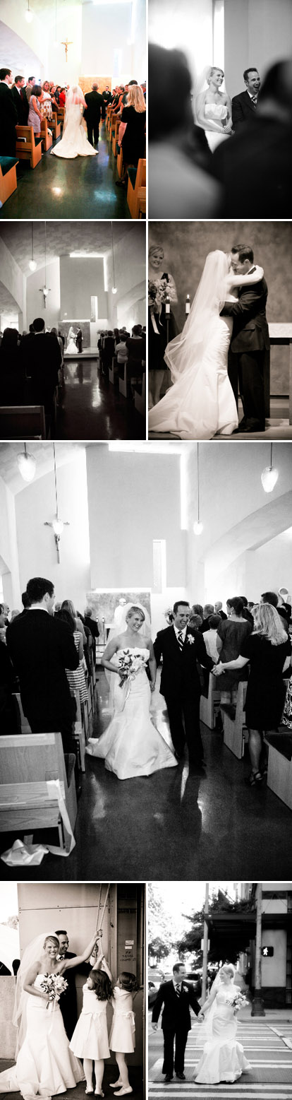 Non-traditional wedding ceremony at Chapel of St. Ignatius in Seattle, fuchsia, blue and white wedding color palette, images by One Thousand Words Photography