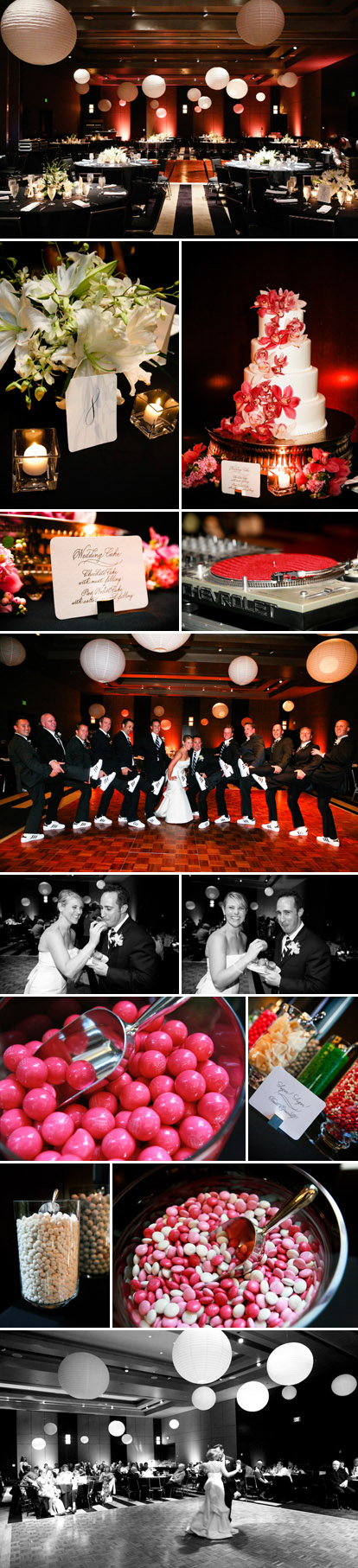 Modern, sophisticated, fun wedding reception at the W Hotel in Seattle, fuchsia, blue and white wedding color palette, images by One Thousand Words Photography