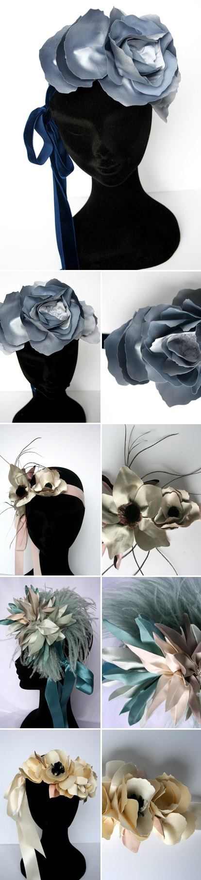 beautiful oversized hand made floral wedding headpieces by Florica on Etsy.com
