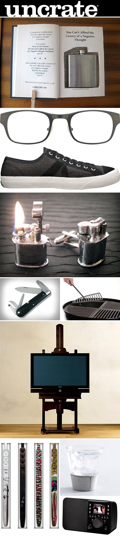 gifts for grooms and groomsmen from Uncrate.com, vintage cuff links, hollow book safes, men's fashion, grill and bar accessories