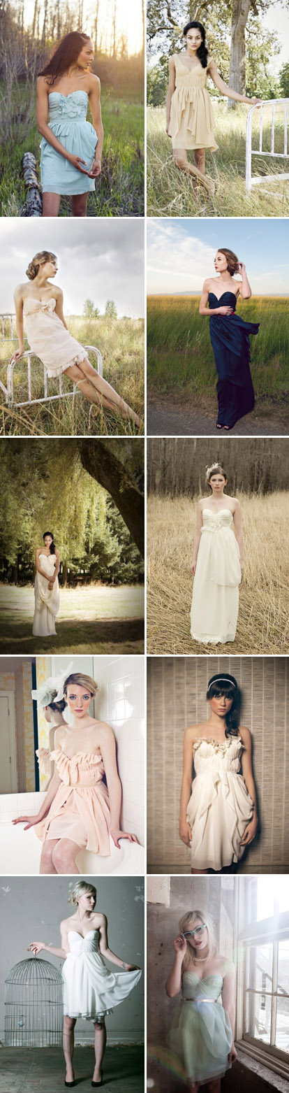 pretty, creative, handmade wedding and bridesmaid's dresses by Sarah Seven on Etsy.com
