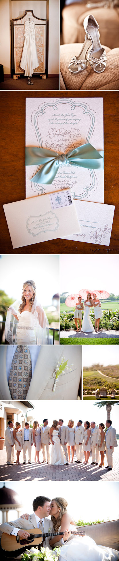 Vintage style Real Wedding by Mindy Weiss at The Resort at Pelican Hill, teal, peach and rose gold wedding color palette, images by Jay Lawrence Goldman