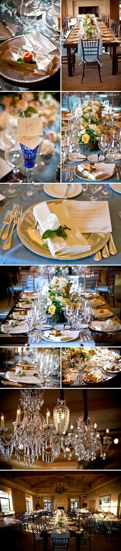 Teal, peach and metallic rose gold vrustic vintage wedding table tops, real wedding decor at The Resort at Pelican Hill, images by Jay Lawrence Goldman