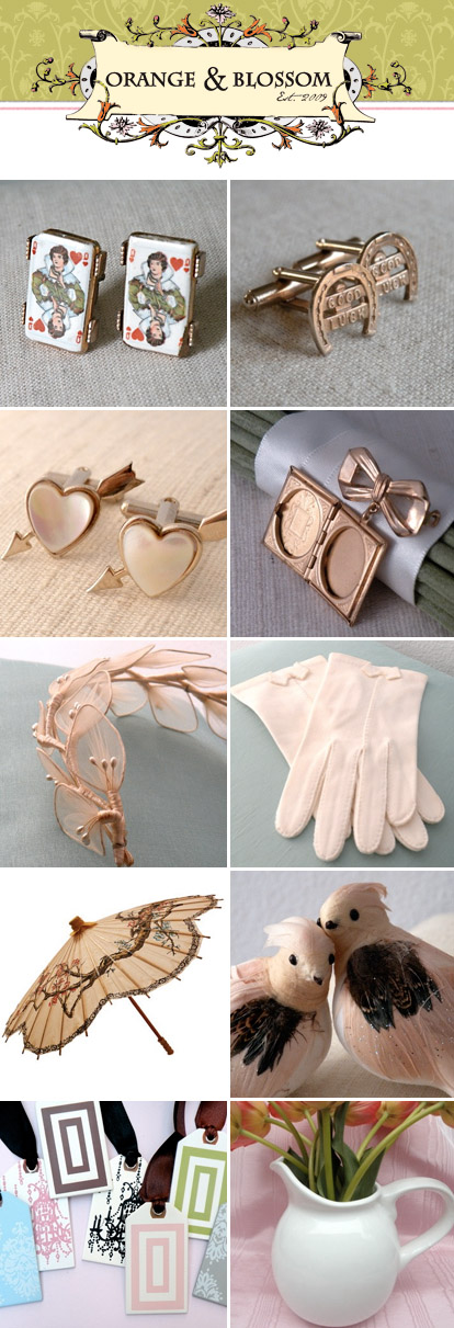 vintage wedding decor, favors and fashion accessories from Orange and Blossom