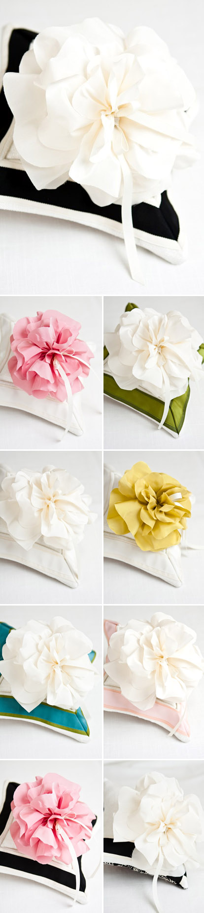 Pretty over sized fabric flower wedding ring bearer pillows from Maihar Design