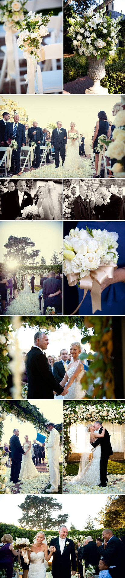 Fall Santa Barbara real wedding ceremony at The Valley Club of Montecito, cream, silver and gold wedding flowers, photographed by Boutwell Studio