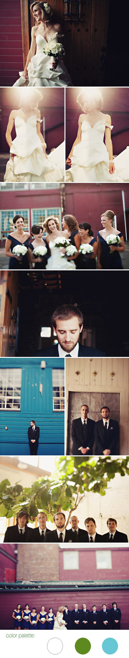Creative, romantic, urban Seattle real wedding at Sodo Park by Herban Feast, blue, white and green wedding color palette, images by Sean Flanigan