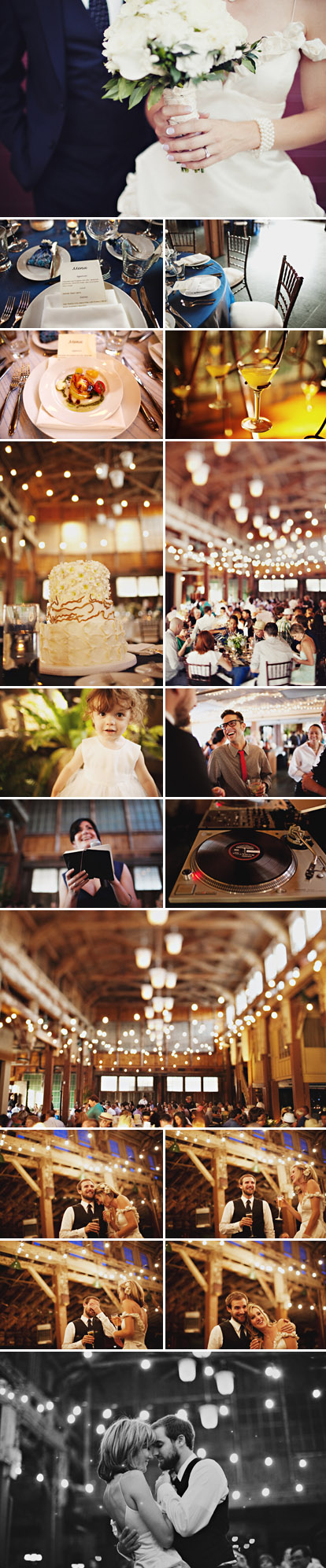 Fun, modern, urban Seattle wedding reception at Sodo Park by Herban Feast, blue, white and green wedding color palette, images by Sean Flanigan