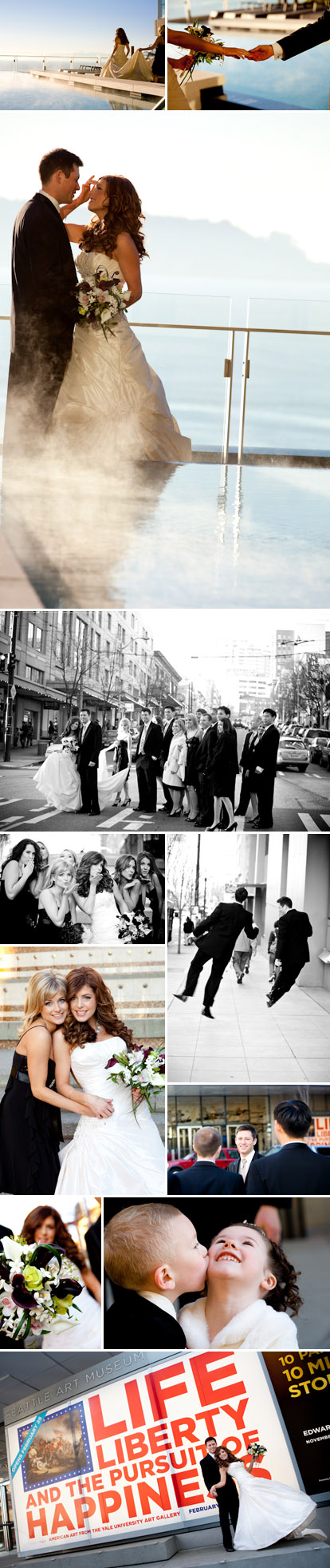 Modern Seattle wedding at the new Four Seasons Hotel, wedding party photos downtown, images by La Vie Photography