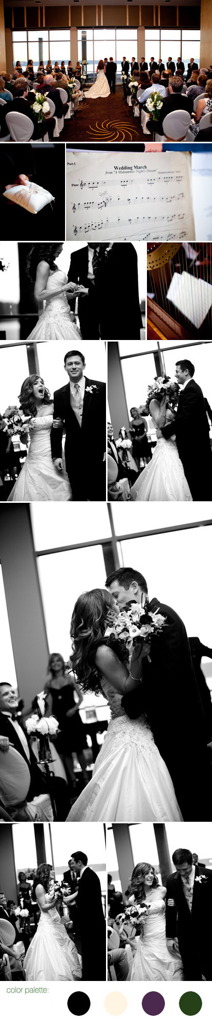 Modern Seattle wedding at the new Four Seasons Hotel, forgotten kiss during the ceremony, images by La Vie Photography
