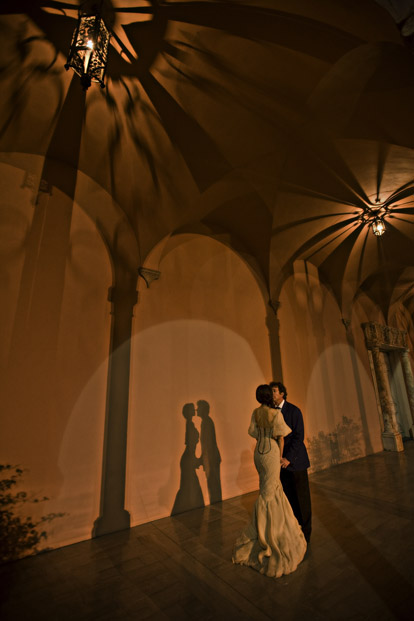 Romantic wedding couple shadow portrait by Bambi Cantrell