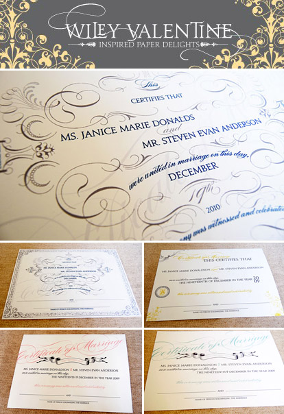 Custom marriage certificates from Wiley Valentine