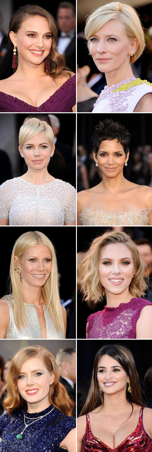 Academy Awareds red carpet hairstyles for weddings, Natalie Portman, Cate Blanchett, Michelle Williams, Halle Berry, Gwyneth Paltrow, Scarlett Johansson, Amy Adams and Penelope Cruz, images via Yahoo Movies
