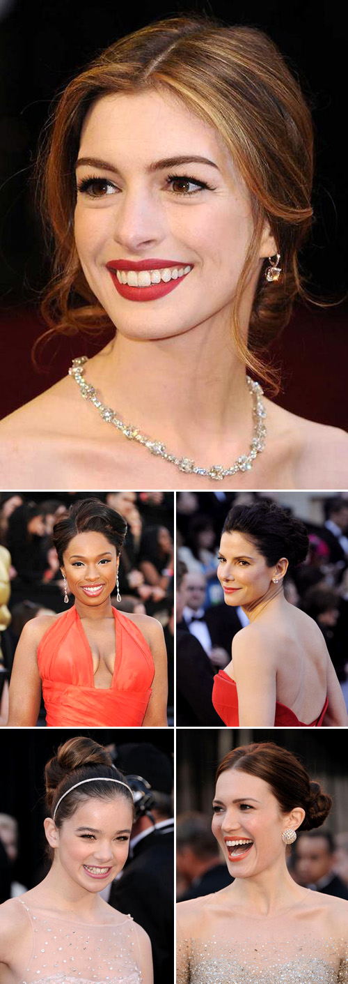 Academy Awareds red carpet hairstyles for weddings, Anne Hathaway, Jennifer Hudson, Sandra Bullock, Hailee Steinfeld and Mandy Moore, images via Yahoo Movies