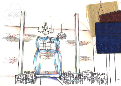 cobalt blue draping in an industrial warehouse, wedding ceremony design illustration from Nadia and Daniela of Bella Signature Design