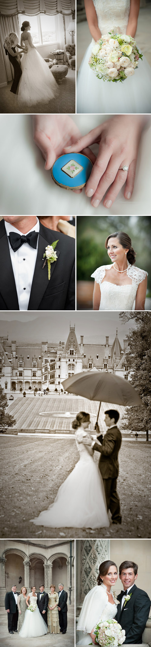 Biltmore Estate, Asheville, North Carolina fairytale real wedding, images by Woodward + Rick