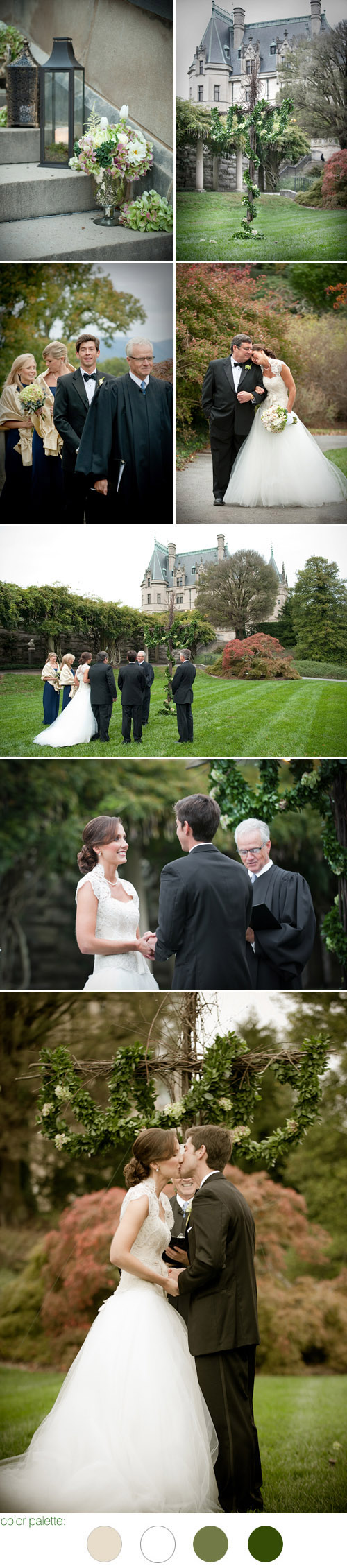 Biltmore Estate, Asheville, North Carolina real wedding, ceremony images by Woodward + Rick