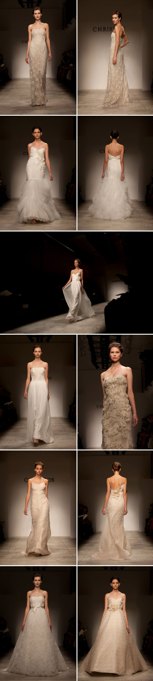Christos Spring 2011 bridal wedding dress collection runway show, images by John and Joseph Photography