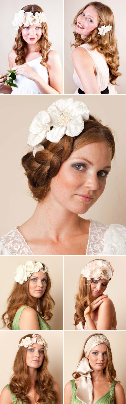 bridal hair accessories and veils from Jannie Baltzer, vintage inspired wedding head pieces