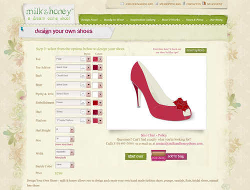 design your own shoes online with Milk and Honey, custom wedding shoes