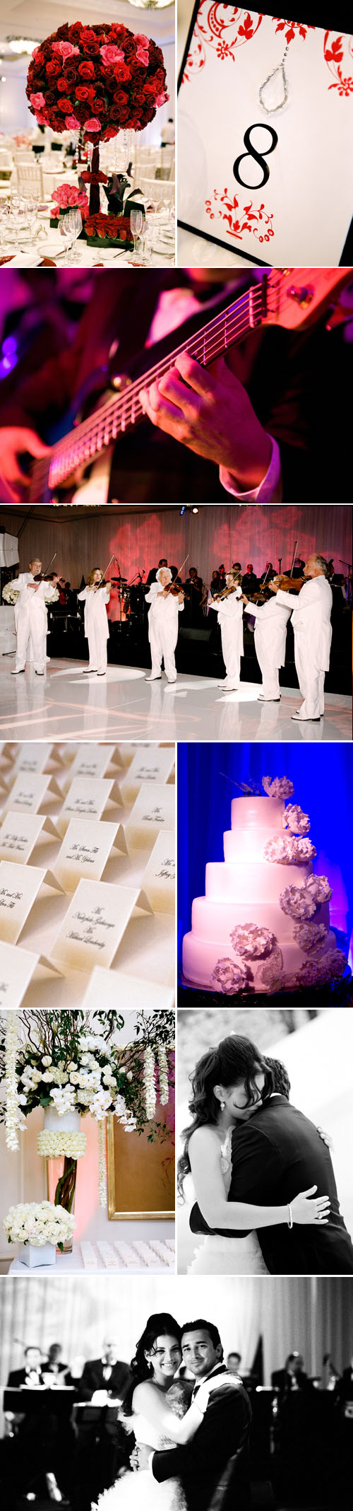 classic southern california real wedding reception at St. Regis Monarch Beach, coordinated by Mindy Weiss, red and white color palette, photos by Yvette Roman Photography