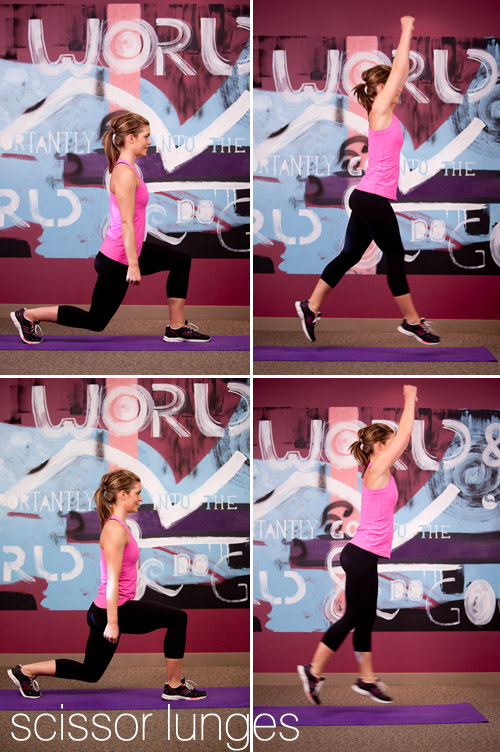 bridal fitness exercises, scissor lunges, from Sassy Fit