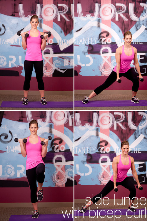 bridal fitness exercises, side lunge bicep curl, from Sassy Fit