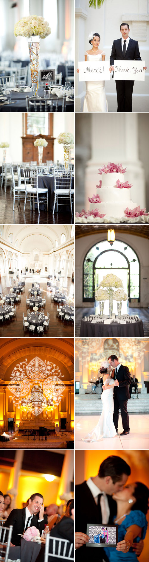 pretty cream, charcoal gray and silver Los Angeles real wedding at Vibiana, photo by Caroline Tran