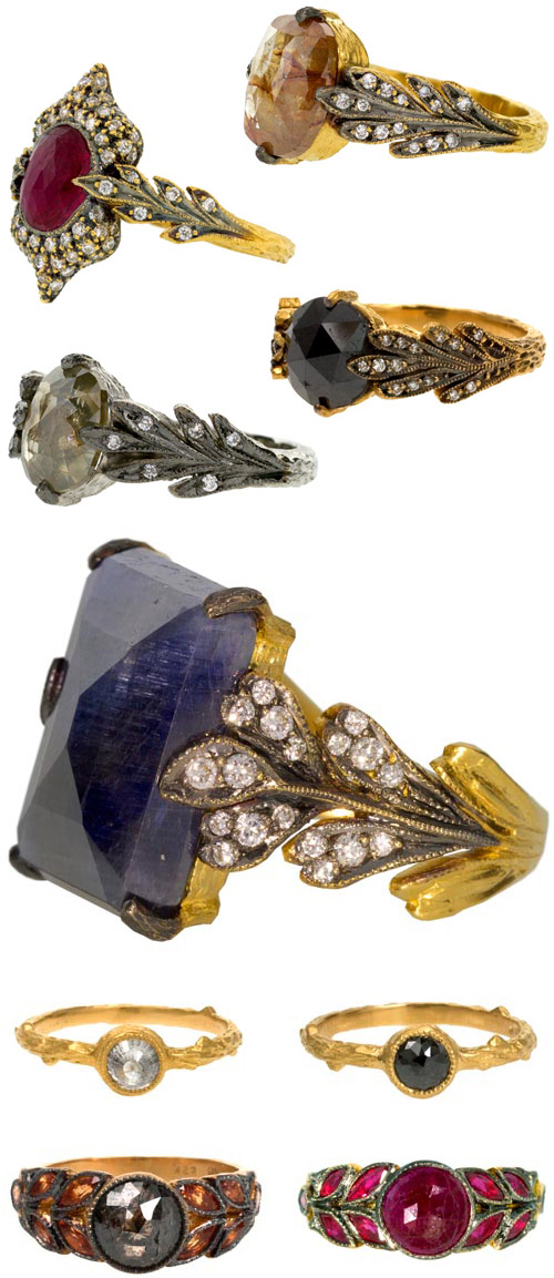 Colored Stone Alternative Wedding Rings By Cathy Waterman